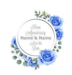 blue roses flowers watercolor round frame card vector image