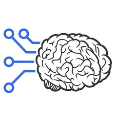 Brain computer interface icon vector