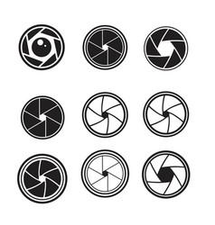 Camera shutter icons set vector