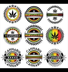 Cannabis Marijuana hemp leaf symbol jamaican color vector
