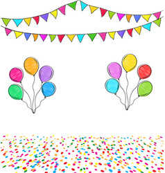 Carnival garland with colorful flags confetti and vector