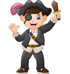 cartoon pirate boy holding a wooden sword vector image