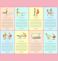 Chocolate spa and cosmetician posters set vector