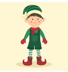 Christmas Elf Boy using Jumpsuit vector image