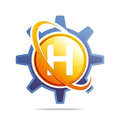 Circle globe gear letter h orange abstract vector