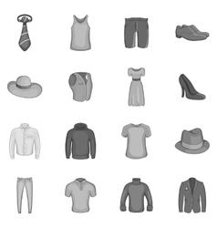 Clothe icons set black monochrome style vector image