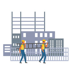 construction site two builders walking carrying vector image