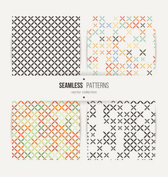 cross stitch seamless pattern set vector image