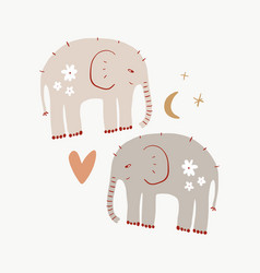 Cute nursery elephants childish african animals vector