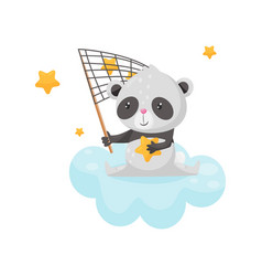 cute panda bear sitting on a cloud with a net for vector image