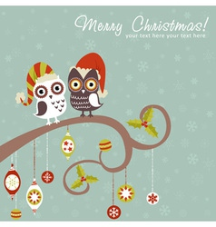 Cute winter christmas card owls in hats vector