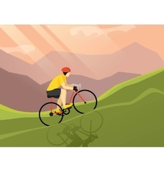 Cyclist flat poster vector