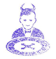 Devil roulette dealer icon grunge watermark vector