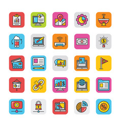 digital and internet marketing icons set 8 vector image