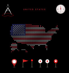 Dotted map united states painted vector