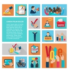 Elections Flat Icons Set vector image