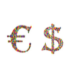 Euro dollar icon people vector