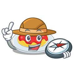 explorer spaghetti character cartoon style vector image