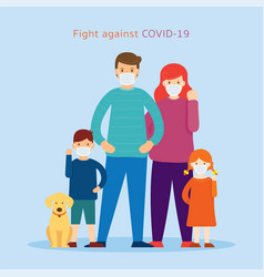 Family wearing face mask fight against covid-19 vector