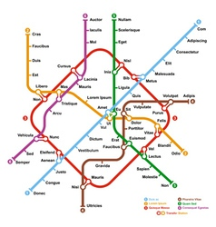 Fictional metro map vector