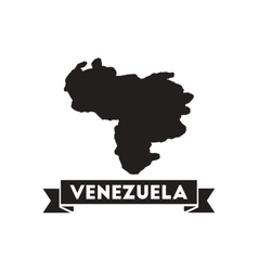 Flat icon in black and white map of Venezuela vector