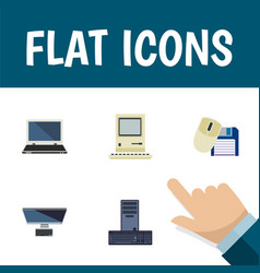 Flat icon laptop set of notebook computer mouse vector