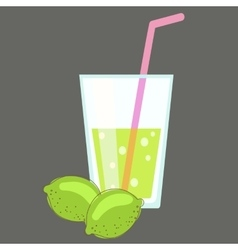 Fresh cold lemonade Glass of citrus juice Lime vector