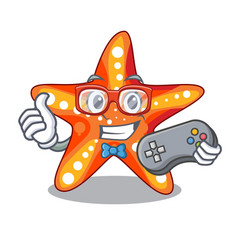 Gamer starfish isolated with in the cartoons vector