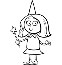 girl in fairy costume coloring page vector image