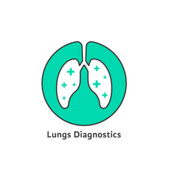 Green outline lungs diagnostics with cross vector