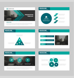 green triangle presentation templates infographic vector image