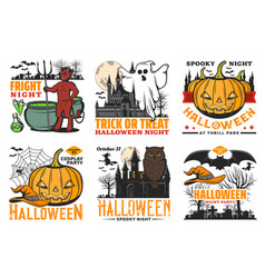 halloween icons pumpkins ghost owl and bats vector image
