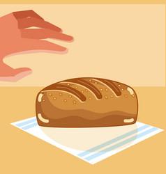 Hand grabbing delicious breads vector