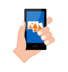 Hand holding a smartphone with a gallery app vector