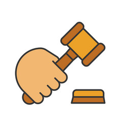 Hand holding gavel color icon vector
