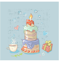 happy birthday set cute elements with big cake vector image