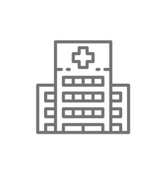 hospital clinic medical building line icon vector image