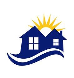 Houses sun and waves logo vector
