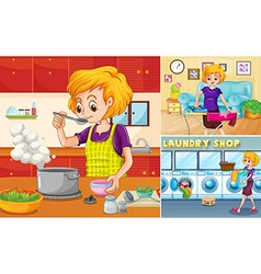 Housewife doing different chores in the house vector