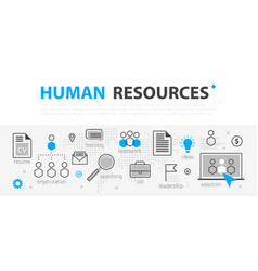 Human resources web banner concept outline line vector