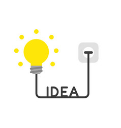 Icon concept of glowing light bulb with idea vector