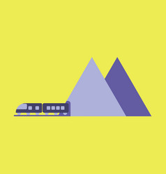 Icon in flat design for airport mountain train vector