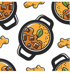 indian cuisine seamless pattern national food vector image