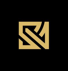 Initial gold letter sa logo design vector