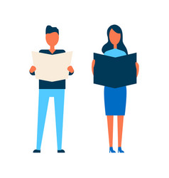 Lady and man reading media vector