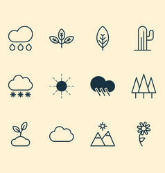 landscape icons set with daisy overcast wood and vector image