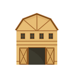 Large barn with brown beams vector