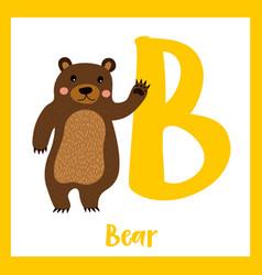 Letter b vocabulary standing bear raising hand vector