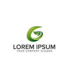 letter g leaf logo vector image