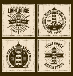 lighthouse four nautical vintage emblems vector image